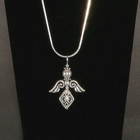 Celtic Angel Necklace - Sterling Silver Chain