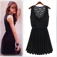 PLEATED STYLE LACE BACK MINI DRESS