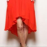 Bright Orange High-Low Skirt
