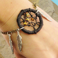Dream Catcher Bracelet Brown and Black with by MidnightsMojo