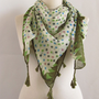 polka dot scarves SQUARE scarf Tasseled scarves  Cotton  Scarf ..%100 Cotton green scarves