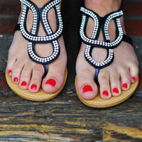 Follow My Lead Sandals: Black/Silver | Hope&#x27;s