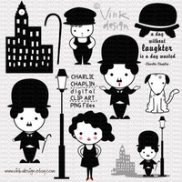 Charlie Chaplin Digital Clip Art set by Vink Design on Zibbet