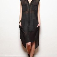 Black Long Sheer Shirt Dress Tunic