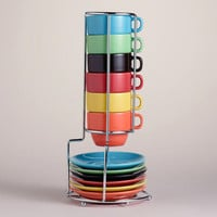 Multicolor Stacking Mugs or Espresso Cups Sets of 6