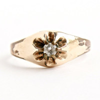 Antique Gold Filled Rhinestone Ring - Size 8 Victorian - Edwardian Costume Jewelry / Faux Diamond Ring