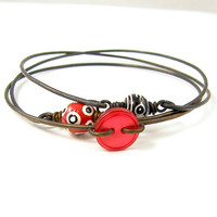 Stacking Bangles Red Black White Stacking Bangle Bracelets - Dark Brass Wire Red Button Polka Dot Bead Stackable Stacked Jewelry