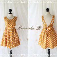 A Party V Dress - Mustard / White Polka Dot Print All Over Backless Party Cocktail Prom Bridesmaid Dinner Bridal Shower Anniversary Dress