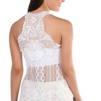 all over lace bubble tank top with crochet patch on back