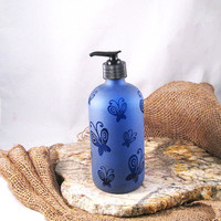 Cobalt Blue Glass Liquid Soap Lotion by BeedazzledDesigns on Etsy