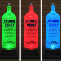 Absolut Vodka LED Bottle Lamp Big 1.75 Liter Color Changing Remote Controlled