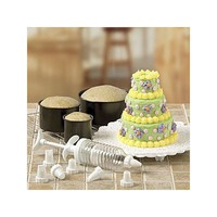 6PC MINI-TIERED CAKE PAN SET WITH DECORATING ACCESSORIES