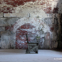 Abandoned Bench in a Brick Room by shyphotog on Etsy