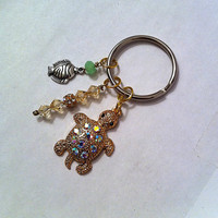 Pave golden turtle keychain with yellow crystals by BeadingByJenn