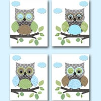 "Owls Nursery Baby Boy Nursery Art Nursery wall art baby nursery kids room decor Kids Art Boy Print set of 4 8""x10"" owls nursery blue green"