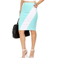 Mint Diagonal Stripe Pencil Skirt