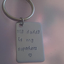 my daddy is my superhero keychain - Personalized Hand Stamped Stainless Steel - father, grandfather, father in law