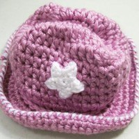 Lavender baby girls Cowboy HatCrochet by HandmadeGiftsbyBarb on Zibbet