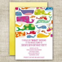GIRL BIRTHDAY PARTY Invitations Whale Pool by CardtopiaDesigns