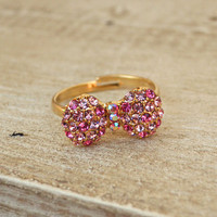 Sparkling Bow Ring [3841] - $9.00 : Vintage Inspired Clothing & Affordable Summer Frocks, deloom | Modern. Vintage. Crafted.
