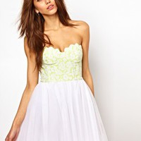 Lashes Of London Prom Dress With Fluro Scallop Bustier at asos.com