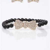 bow earrings and bracelet set - 1000051102 - debshops.com