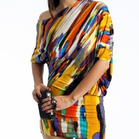watercolor dress $27.60 in MUSTARDMLT TURQMULTI - Casual | GoJane.com