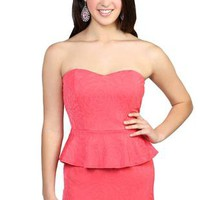 strapless textured day dress with peplum and open knot bow back  - 1000048394 - debshops.com