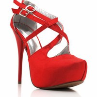 strappy satin heel &amp;#36;28.20 in BLACK RED - Heels | GoJane.com