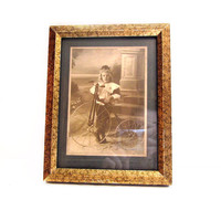 Antique Photograph, Framed Boy with Bicycle Picture Portrait