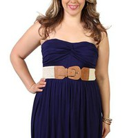 plus size strapless day dress with knot bodice and bubble hem skirt - 1000047347 - debshops.com
