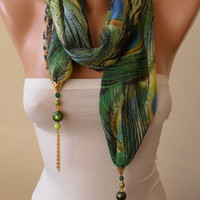 Trending Scarf - Jewelry Scarf - Mother's Day Gift - Green Chiffon Fabric with Golden Sequins - Beads and Chain