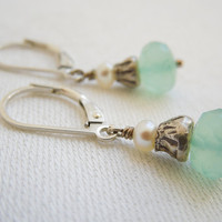 Earrings Mint Green Chalcedony  Pearl Hill Tribe by seemomster