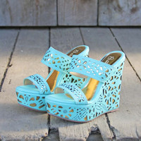 Traveling Sands Wedges in Turquoise, Sweet Rugged Boots