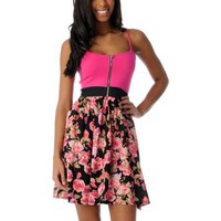 Crafty Pink Floral Zipper Dress at Zumiez : PDP