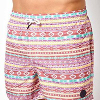 Native Youth Aztec Swim Shorts at asos.com