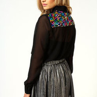 Millie Multi Sequin Collar And Back Blouse