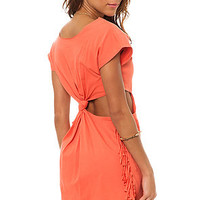 The RVCA Top Temptin Cutout Back Fringe in Coral