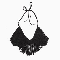 L*Space - Women&#x27;s Audrey Fringe Halter Top (Black)