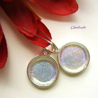 Gentle Moon Glow Iridescent Dichroic Round Glass Dangle Earrings