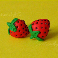 Strawberries stud earrings polymer clay fimo handmade