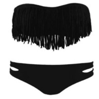 Sexy summer  Women&#x27;s Sexy Tassel Padded Bandeau Fringe Bikini