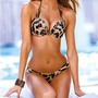 Sexy summer  sexy steel prop coffee color leopard bikini