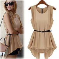 Sexy summer  fashion Vintage chiffon dress with belt