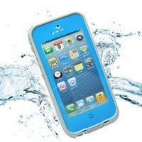 Leang Waterproof Shockproof and Dirtproof Case for iPhone 4 4S Life Dirt Proof Case Blue+ Cleaning Cloth
