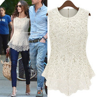 Sexy summer  Sleeveless lace blouse