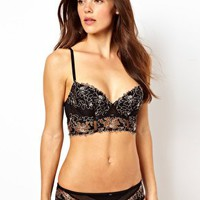 Calvin Klein Black Long Line Underwire Bra at asos.com