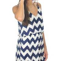 Sunshine on My Shoulders in Navy Chevron - Dresses