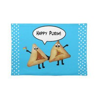 Happy Purim Hamantashen Placemats - Blue from Zazzle.com