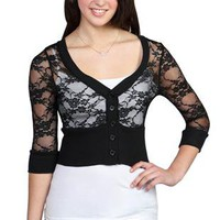 Lace Three Quarter Sleeve Button Front Cropped Cardigan